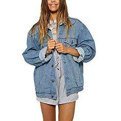 3f0c3ba8541e Grabsa Women s Button Down Long Sleeve Cropped Denim Jean Jacket with  Pockets