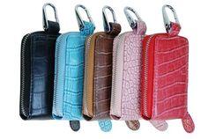 Genuine PU Leather Keyring Holder Round Zipper Key Case 11-454 (C)