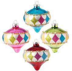 RAZ Candy Sprinkles 4.5 inch Glittered Glass Kismet Christmas Ornament