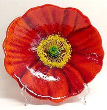 Red Poppy Bowl by Anne Nye (Art Glass Bowl)