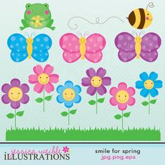 Smile for Spring Cute Digital Clipart for Card by JWIllustrations, $5.00