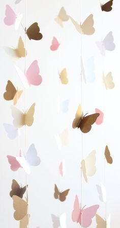 Gold and Pink Butterfly Mobile Baby Girl Nursery Crib Cream Toddler Room Decor…