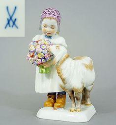 Details zu Meissen Kinder Figur, Mädchen mit Schaf, Entwurf Max Bochmann…