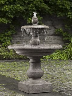 Cast Stone Double Bowl Water Fountain, self circulating. Pump included. This fountain could work well in any garden either modern or traditional. Cast stone and finished in a weathered gray color. Lovely sound. Local delivery and curbside pickup are available for this fountain in addition to shipping. To learn more about fountains, please read our blog on creating the perfect water sound . Stone Garden Fountains, Concrete Fountains, Outdoor Fountains, Fountain Garden, Fountain Ideas, Garden Ponds, Water Fountain Design, Koi Ponds, Garden Planters