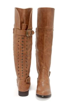 Tan Studded Knee High Riding Boots at LuLus.com!