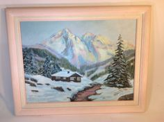 Vintage Landscape Oil Painting of Snowy Mountains, Cabin, Trees, Stream Pastel #Impressionism