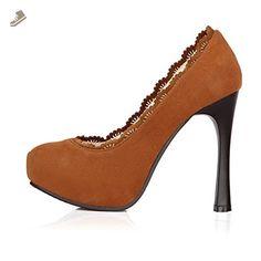 Balamasa Womens Pull On High Heels Solid Brown Pumps Shoes - 10.5 B(M) US - Balamasa pumps for women (*Amazon Partner-Link)