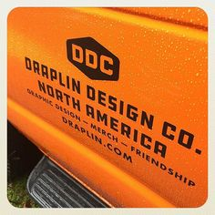 WEBSTA @ draplin - ADVENTURES IN ADHESIVES: The van graphics are on. The rain isn't stopping us. Special thanks to Justin Kaye (@breadfiredeath) from @signwizardspdx! Loading this fucker up this afternoon. @leighola77 #ddc2016falltour #ddcbook #prettymucheverything #friendship