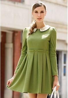 Popular Slim Doll Collar Long Sleeves Dress
