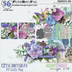 Lolly Bag - PU {by Heartstrings Scrap Art} 12th Birthday, Birthday Celebration, Happy Birthday, Lolly Bags, Heartstrings, Digital Scrapbooking, Free, Happy Brithday, Urari La Multi Ani