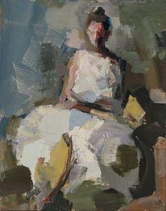 'Seated' by American painter Lisa Noonis (b.1963). Oil on canvas, 14 x 11. via Pryor Fine Art
