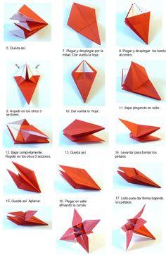 origami flor - paso a paso