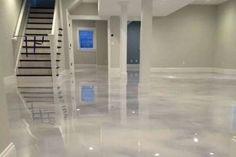 Counter top diy or basement flooring- Pearl White Epoxy (Concrete) Floor Epoxy Concrete Floor, Metallic Epoxy Floor, Painted Concrete Floors, White Concrete, Diy Stained Concrete, Floating Hardwood Floor, Epoxy Floor Designs, Finished Concrete Floors, Epoxy Floor Paint