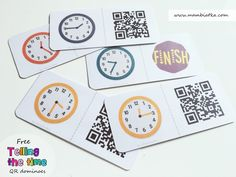Telling the time - free QR dominoes