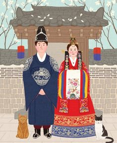 hanbok illustration Korean Traditional, Traditional Wedding, Traditional Outfits, Korean Art, Asian Art, Chinese Picture, Korea Dress, Girl Face Drawing, Korean Painting