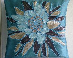 Azul Amortiguadores Del Tiro Cubierta Para El Sofá, Cuadrado Lentejuelas Y Cuentas De La Flor Medallón Tema Floral 40x40 cm Seda-Centerpiece