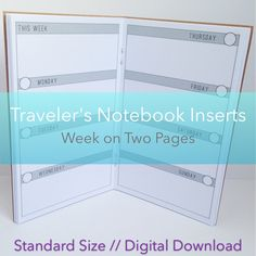 Week on Two Pages Planner -- No Grid {Standard Size} Printable Travelers Notebook Insert Booklet // Sunday Start