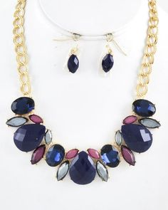 Gold Tone / Sapphire Acrylic / Lead Compliant / Necklace & Fish Hook Earring Set