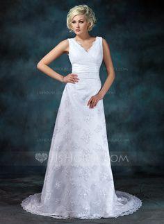 Empire V-neck Court Train Satin Lace Wedding Dress With Ruffle Beading (002000314) - JJsHouse