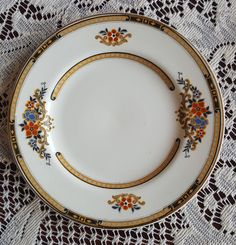 Excited to share the latest addition to my #etsy shop: J G Meakin Birtley, Bread and Butter Plate, Tan Black Band, Orange and Blue Floral on White Background, England Sol 391413, Vintage Plate http://etsy.me/2DZSVwt #housewares #white #wedding #mothersday #green #plati