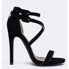 GLEE-152 SANDAL ($35) ❤ liked on Polyvore featuring shoes, sandals, heels, black, pumps, ankle tie sandals, black heel sandals, zipper sandals, qupid shoes and ankle strap heel sandals