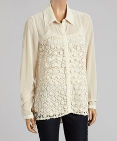 Look what I found on #zulily! Cream Sheer Lace Button-Up Top #zulilyfinds