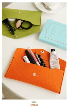 DIY felt pouch. minimal sewing.  use as wallet, pencil pouch, jewelry keeper…