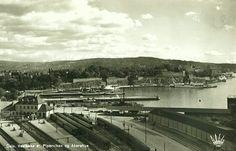 Oslo Christiania Kristiania Vestbanen og Pipervika 1920-tallet Utg Abels kunstforlag