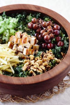 Kale Waldorf Chicken Salad recipe with Cashew and Avocado Dressing - A healthy and meal-worthy salad for dinner.