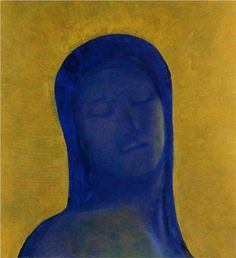 Odilon Redon (French: 1840–1916), [Post-impressionism, Symbolism] Closed Eyes, 1894, Private Collection.