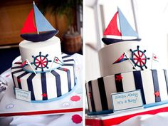 Ships Ahoy, its a Boy nautical baby shower cake