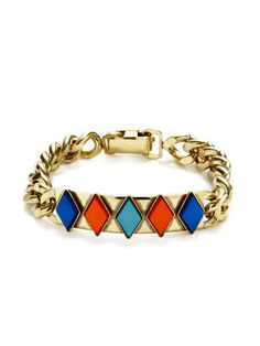 Gold Link & Glass Stone Bracelet by Anton Heunis at Gilt