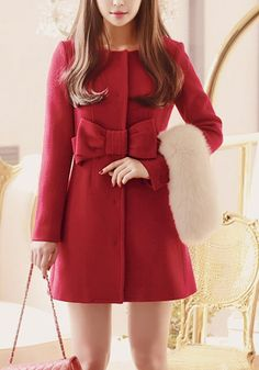 Chic, cozy and elegant. This red removable collar coat has removable fluffy collar, a delicate bow at the front, and two concealed pockets at the side.   Lookbook Store