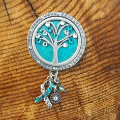 Cervical Cancer Awareness badge.  Teal and clear diamond crystals. Special ribbon design