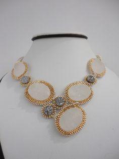 beadwork woven gemstone druzy bead necklace by veroniquesjewelry, $205.00