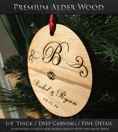 Newlywed Monogram Keepsake Ornament - Personalized Holiday Ornament - Our First Christmas - Just Married - Wood Xmas Ornament - SKU#18A