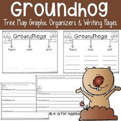"""This resource includes tree map graphic organizers to write about groundhogs. The organizers are in the format of """"have-can-are"""" and """"have-can-eat."""" Also included are anchor chart cards to use with each organizer. For differentiation, there are 2 versions of each - one with 4 lines for"""