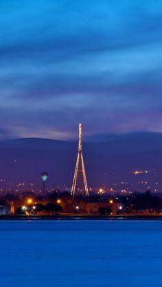 ireland, dublin, evening, dusk, sky, blue, clouds, mountains, houses, lights, quay, river