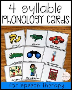 These phonology printables are a must have for the busy SLP. These cards provide for 24 word targets for students who need practice sequencing multi-syllabic words. These bright and engaging cards are the perfect addition to support drill work during speech therapy activities in the speech room. There are black lined copies of the cards that can be sent home for reinforcement of skills with families. #phonology #speechtherapy