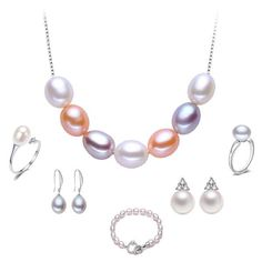 Hot Sale 925 Sterling Silver Jewelry Set for Women 100% Real Natural Pearl Wedding Jewelry Set Promotion Pearl Jewelry 6pcs/Set