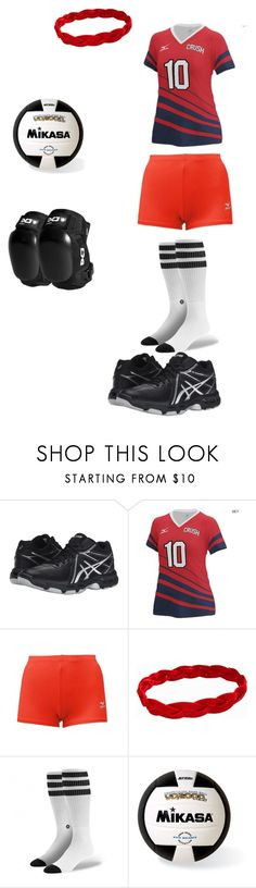 """Toki's volleyball uniform"" by missheru ❤ liked on Polyvore featuring Asics, Mizuno and Mikasa"