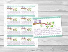 Owl Baby shower book request insert cards purple owl Printable INSTANT DOWNLOAD  purple owl baby shower greenmelonstudios insert cards by greenmelonstudios on Etsy