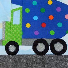 (7) Name: 'Quilting : Dump Truck Paper-Pieced Block