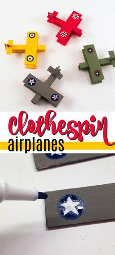 This Memorial Day craft teaches kids to remember those that fought for our freedom. Make clothespin airplanes decorated like old time war planes. Crafts For Seniors, Fun Crafts For Kids, Craft Activities For Kids, Toddler Crafts, Diy For Kids, Crafts To Make, Diy Crafts, Learning Activities, Kids Learning