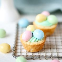 Enjoy a mini sweet bite this Easter! Sugar cookies filled with creamy frosting and candy make these Easter Cookie Cups an eggcellent treat for parties! Sugar Scrub Homemade, Sugar Scrub Recipe, Homemade Oatmeal, Easter Cookies, Easter Treats, Sugar Cookie Dough, Sugar Cookies, Oreo Bark, Oreo Fudge