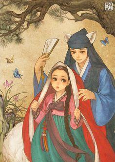 Red Riding Hood by Korean Illustrator 흑요석 (Obsidian)