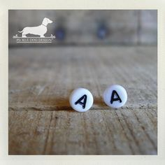 Lobe Letters. Personalized Post Earrings -- (White, Typography, Initials, Letters, Cute, Vintage-Style, Personalized, Gift for Her Under 10)