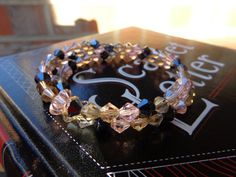 Crystal Memory Wire Bracelet by MyBelleOriginals on Etsy