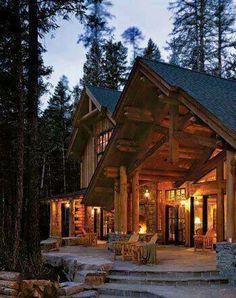 Log cabin on pinterest log houses log homes and log for Full wrap around porch log homes