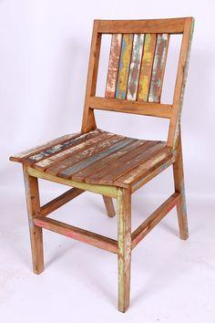 Cadeira Rústica de Madeira de Demolição